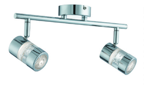 Bubbles Effect Ip44 Led 2Lt Spot Bar - Chrome & Acrylic Shade (Class 2 Double Insulated) Bx4412Cc-17
